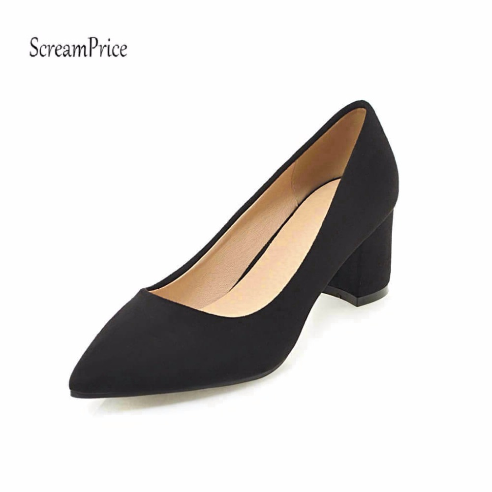 Pointed Toe Chunky High Heels Women Pumps Dress Slip On Lazy Shoes Spring Fall Black Beige Red Yellow Pink siketu 2017 free shipping spring and autumn women shoes fashion sex high heels shoes red wedding shoes pumps g107