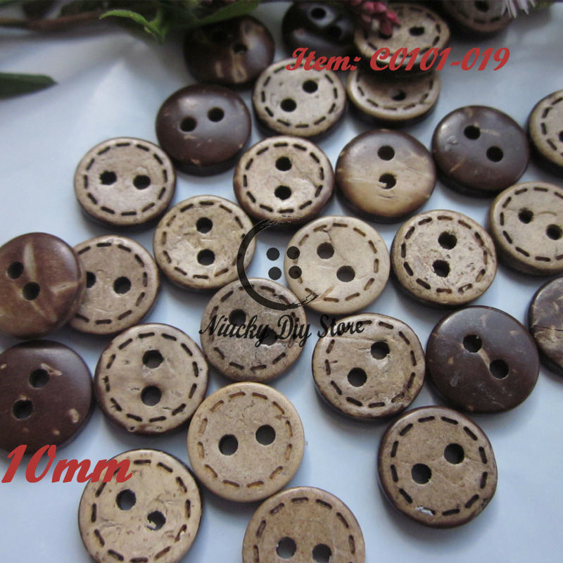 Loose buttons 100pcs 10mm dotted line coconut shell baby buttons children clothing decorative sewing accessories