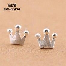 Женские серьги пусеты rongqing в виде короны с серебряным покрытием