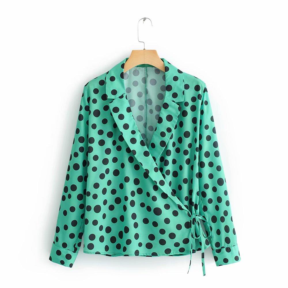 New Women Fashion Green Polka Dots Print Casual Kimono Blouse Shirts Women Lace Up Bow Tied Business Chemise Shirt Tops LS3229