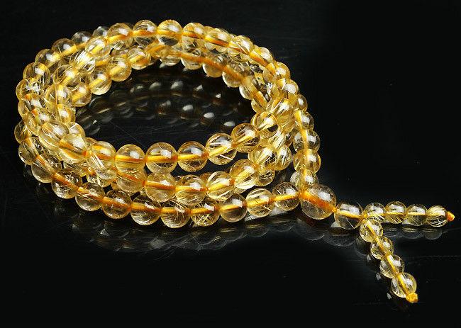 Бесплатная доставка натуральные бразильские золотые волосы рутил кварц стрейч прозрачный браслет из бисера AAA 6 мм