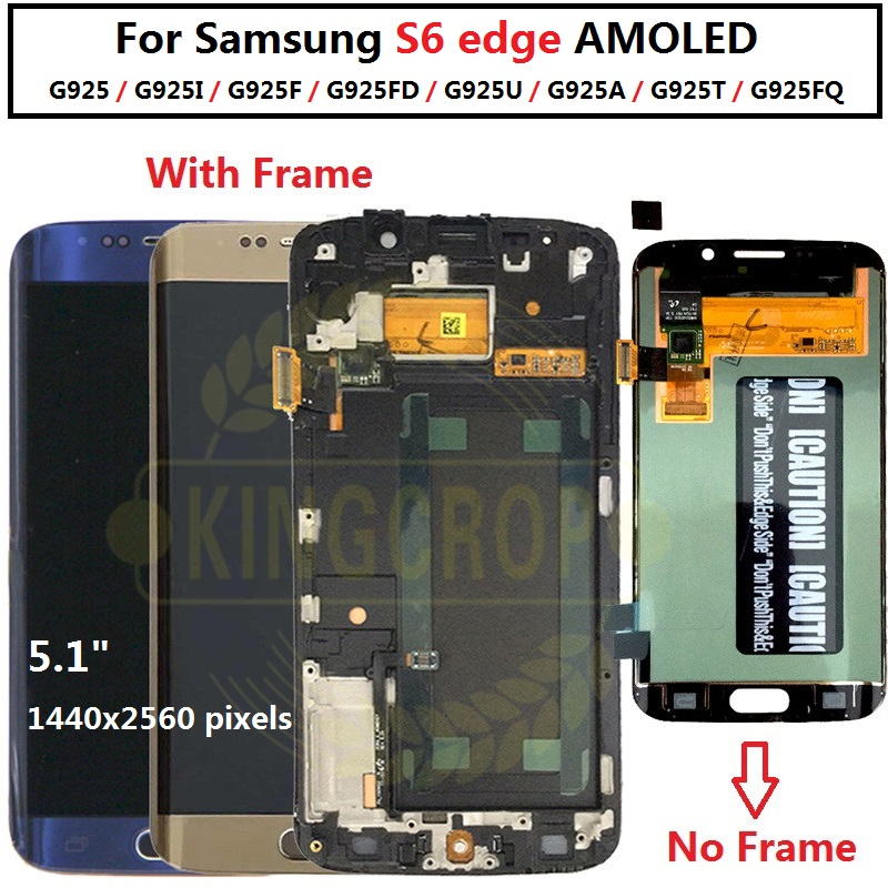 HTB1GK0sLFzqK1RjSZFoq6zfcXXau 5.1For Samsung Galaxy S6 Edge LCD G925 G925F SM-G925F Display Touch Screen Digitizer Assembly with frame For SAMSUNG S6 Edge LCD