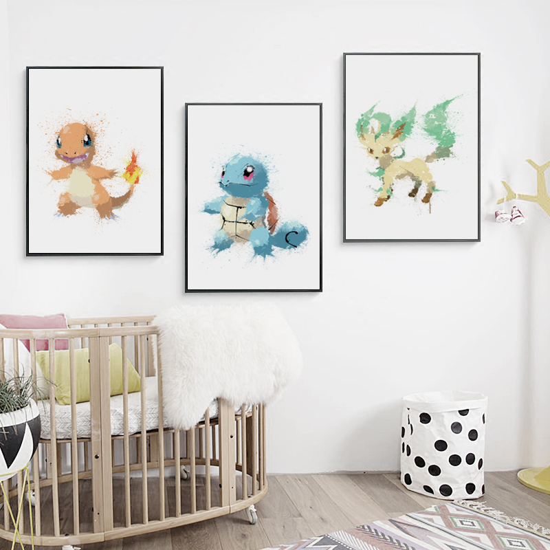Modular Pictures Poster Watercolor Painting-Printed Artwork Canvas Pokemon Living-Room