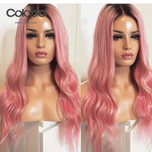 COLODO Wavy Lace Front Wig Brazilian Remy Hair Glueless Lace Frontal Pink Ombre Human Hair Wig Transparent Lace Wigs For Women