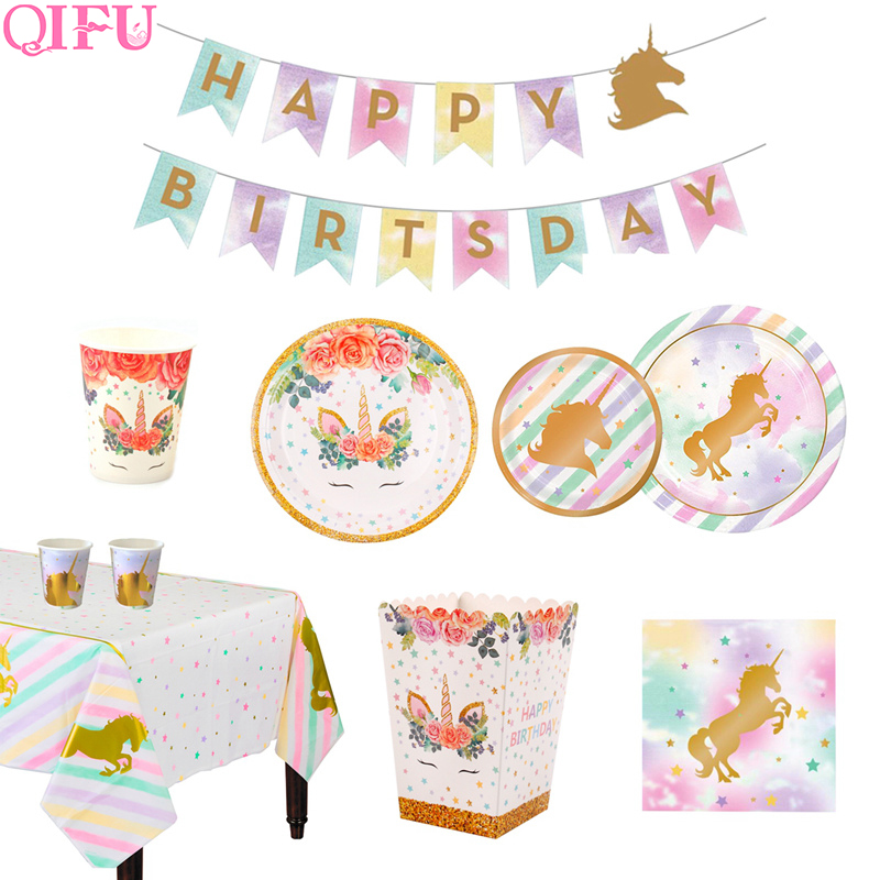 Qifu Unicorn Party Decoration Unicorn Disposable Tableware Unicorn Birthday Party Supplies Baby Shower Girl Unicornio Decoration