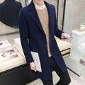 Os novos 2017 homens boutique de moda pure color high-grade de lã negócio pano trench coat/Masculino lazer poeira casaco de Lã jaqueta