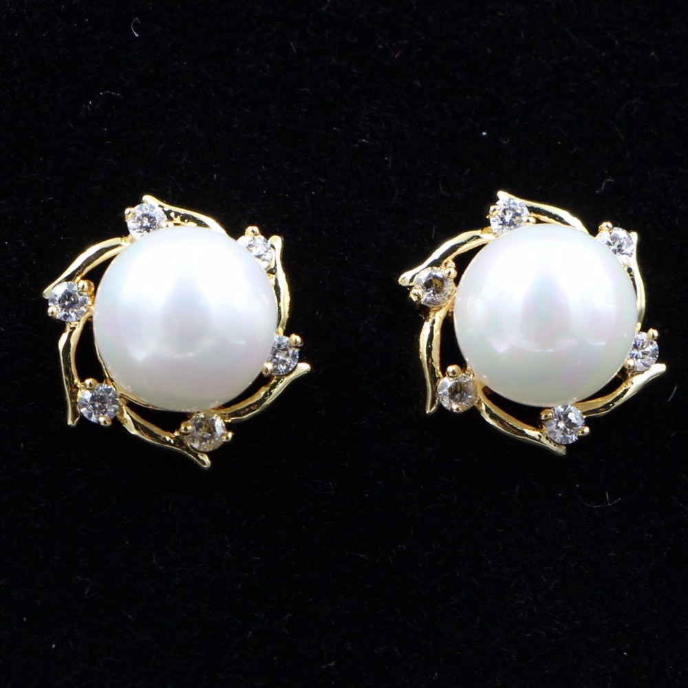 single earrings cultured jewellery gold stud white image pearl grey diamond