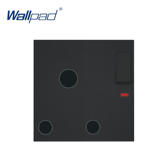 Wallpad Luxury 3 Pin 15A UK Socket With Switch Electric Outlet Function Key For Wall White And Black Plastic Module Only