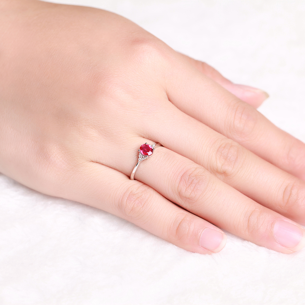 0.45ct Natural ruby ring Women\'s Day GVBORI 18K Gold &Diamond Ring ...
