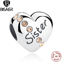 New Trendy 925 Sterling Silver Sister Floating Heart Charms Fit Pandora Bracelet Necklace Beads Jewelry Making
