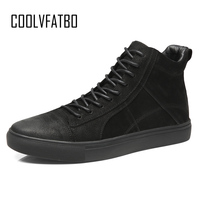COOLVFATBO Quality Brand Men Boots Fashion Men Ankle Boots Winter Autumn Casual Men Genuine Leather Boots Man Shoes Big Size46