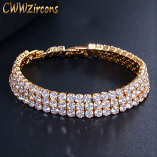 CWWZircons 3 Row Iced Out Hip Hop Yellow Gold Color Bling Cubic Zirconia Tennis Bracelet for Men Luxury Punk Jewelry Gift CB048(China)