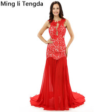 Red Lace Evening Dresses Long See Through Evenging