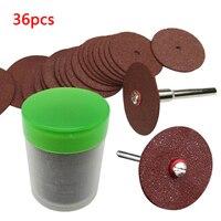 Disco de lâmina circular de corte 36 peças  roda de serra para ferramenta rotativa dremel  ferramentas de disco de lixa abrasivas de madeira e metal