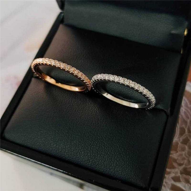 choucong Simple Eternity Band Promise Ring Pave 5A Zircon Cz 925 Sterling Silver Engagement Wedding Rings for Women Bridal Bijou