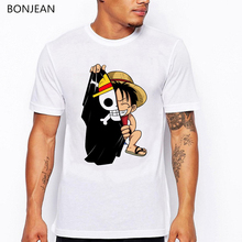 One Piece T shirt Men Japanese Anime naruto Luffy skull printed tshirt homme funny cartoon t shirts summer top camisas