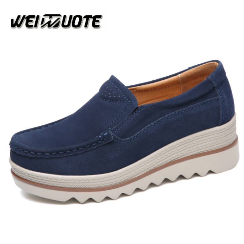 2ed26b7ae8 2018 Women Platform Shoes 5.5cm Slip on Loafers Suede Cow Leather Breathable  Comfortable Fashion Womens Walking Casual Shoes-in Women's Pumps from Shoes  on ...