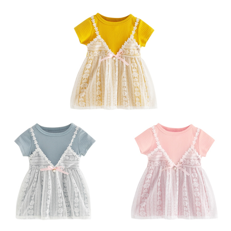 2018 Summer Hot Sale Baby Girls Cute Dress Infant Kids Short-sleeved Lace Princess Dresses New-arrival Fashion Clothing LQ