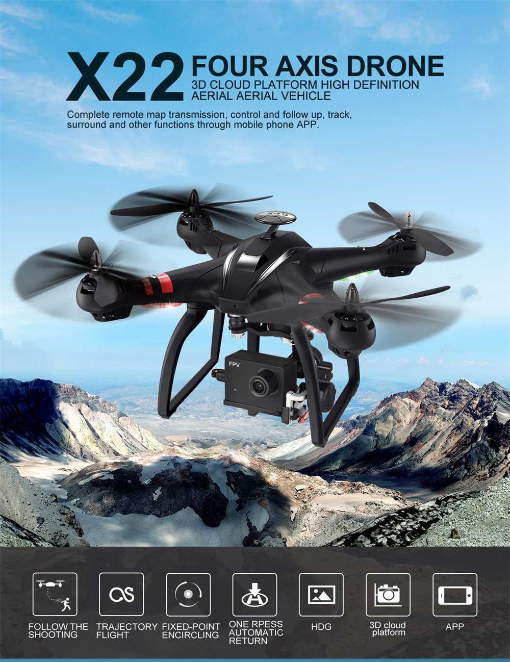 BAYANGTOYS X22 1080P Camera Brushless Motor Dual GPS WIFI FPV with 4-Axis Gimbal RC Drone Quadcopter RTF
