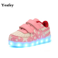 Illuminated Luminous Sneakers Pink Stars American Flag Tenis Infantil Led Menina Chaussure Lumineuse Fille Enfants Shoes