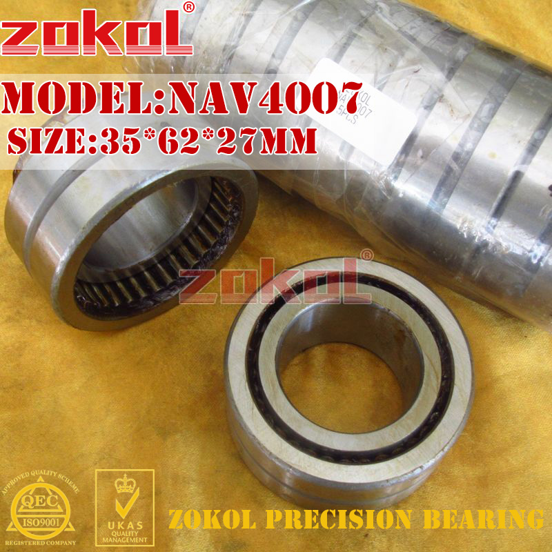 ZOKOL bearing NAV4007 Full bore needle roller bearing with inner ring 35*62*27mm na4913 bearing 65 90 25 mm 1 pc solid collar needle roller bearings with inner ring 4524913 4544913 a bearing