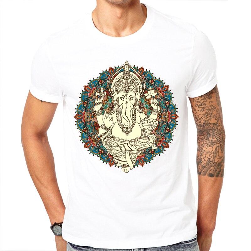 Fashion short sleeve design Lord God Ganesha printed men   t  -  shirt   cool men's tee   shirts   tops men   T  -  shirt   casual men   t     shirt