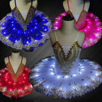 New Professional Led Tutu Kids Ballet Costume Swan Lake Ballerina Dress Adult Halloween Stage Children Party Dancewear Outfit