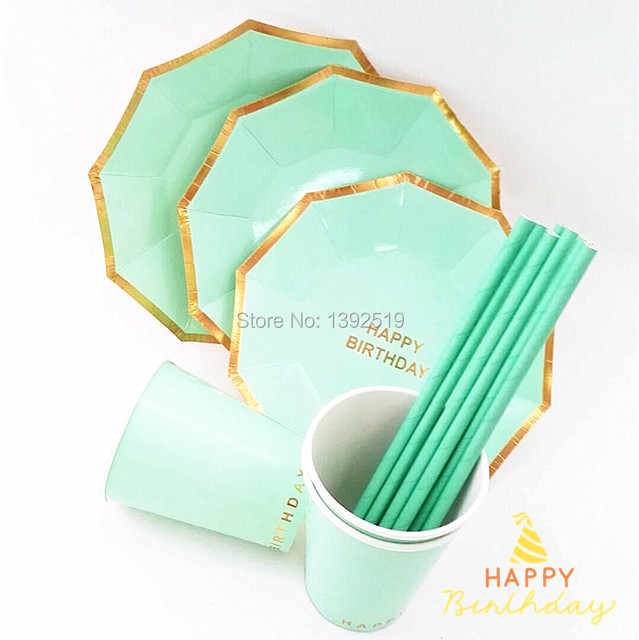 205Pcs/Lot Mint Green Gold Paper Plates Cups Straws For Kids Happy Birthday Party Decorations  sc 1 st  AliExpress.com & 205Pcs/Lot Mint Green Gold Paper Plates Cups Straws For Kids Happy ...