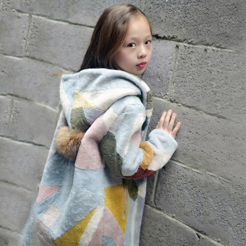 Высокое качество, Детская кашемировая Меховая куртка, пальто из натурального кашемира, пальто с мехом для девочек, зимнее меховое пальто дл