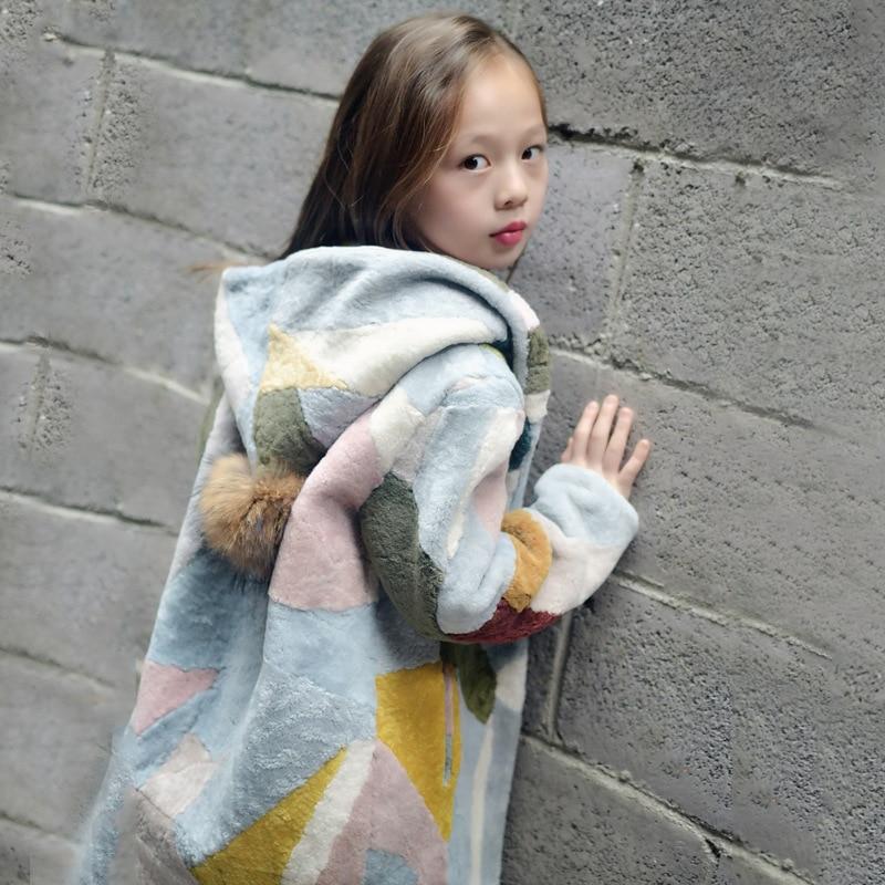 цены High Quality Children Cashmere Fur Jacket Coat Real Natural Cashmere Fur Coat Girls Winter Fur Coat for Children