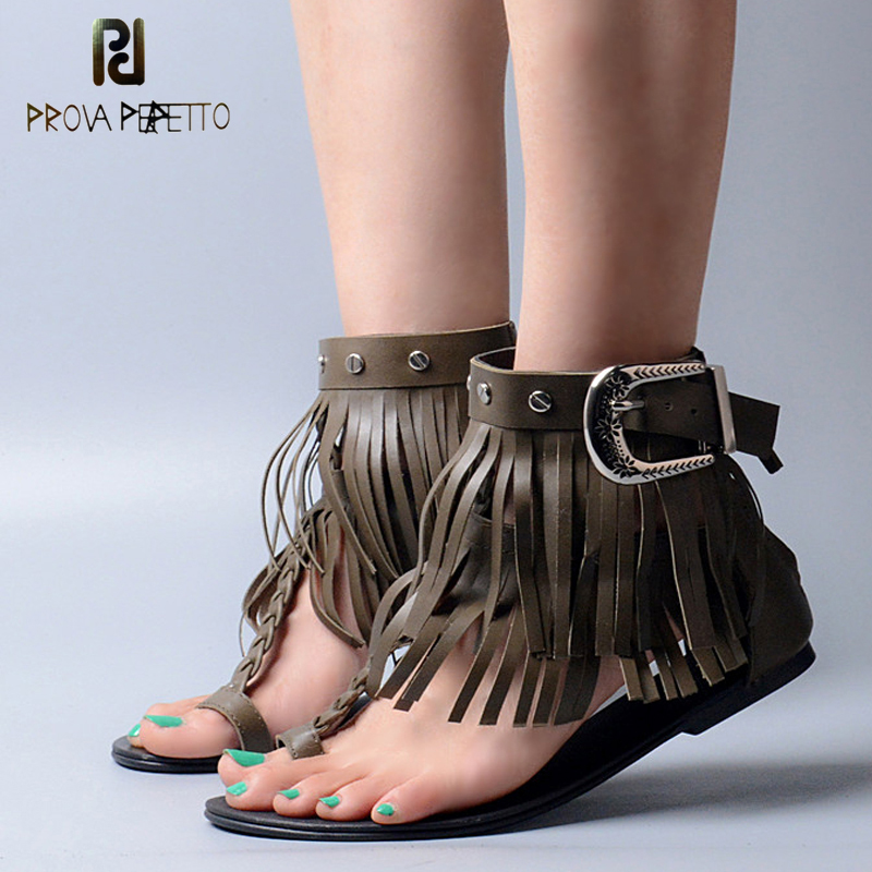 Prova Perfetto Ankle Fringe Tassel Summer Flat Sandal Shoe Top Quality Attractive Lady Party Shoe Hot Selling Design Sandal stylesowner elegant lady pumps sandal shoe sheepskin leather diamond buckle ankle strap summer women sandal shoe
