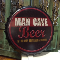 Tin SignMAN CAVE BEERVintage Iron Painting Beer Cover Bar KTV Hanging Ornaments Decor Retro Mural Poster Metal Wall Stickers