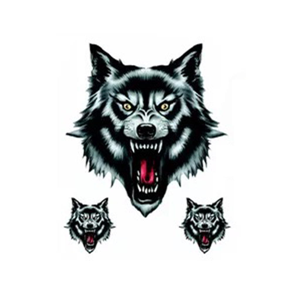 Vinyl Fashion Funny Wolf Head Sticker Decal for VW Honda Audi Nissan Suzuki Yamaha Toyota Kia Motorcycle Motorbike Truck Helmet image