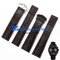 A alta qualidade do couro genuíno assista bracelete Pulseira Preta com Cinta costurado vermelho 20mm 22mm Homens Relógio assistir acessórios