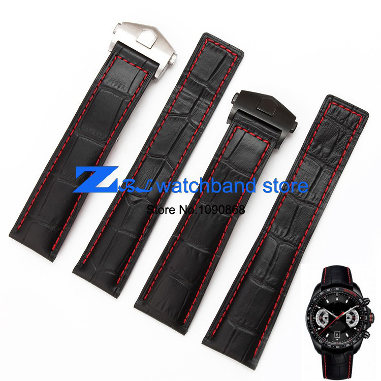 The high quality genuine leather watch strap Black Watchband  with red stitched Strap 20mm 22mm Men Watch watch accessories high quality genuine leather watchband 22mm brown black wrist watch band strap wristwatches stitched belt folding clasp men