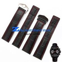 La alta calidad de cuero genuino correa de reloj de Correa De Reloj Negro con rojo cosido Correa 20mm 22mm Hombres Reloj reloj accesorios