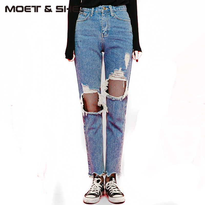Boyfriend Hole Ripped Jeans Women Pants Cool Denim Vintage Straight Jeans For Girl High Waist Casual Pants Female B728502Y 2017 ripped boyfriend high waist jeans for women torn cool denim vintage straight pockets hole bleached washed jeans femme