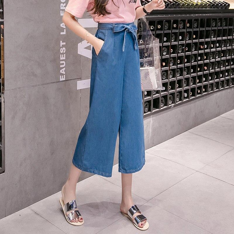 b7f3b863ec2 Jeans Womens Loose Fashion Bow Wide Leg Jeans Women S-5XL Plus Size Jeans  Feminino Pockets Slim Denim Jeans Capri Dropshipping