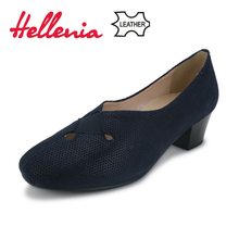 Hellenia Genuine Leather women Pumps natural suede leather Fashion Dress shoe Super Soft ladies shoes brand designer Black&Navy