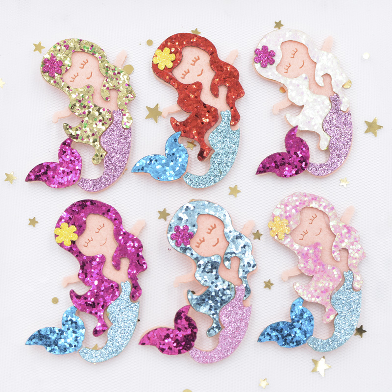 Wholesale 48Pcs 6CM Glitter Fabric Appliques Cartoon Mermaid Nonwoven Padded Patches for Hat Stickers DIY Hair Clips Decor G07