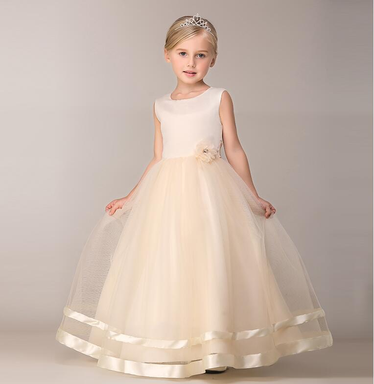 A-Line Flower Girls Dresses For Wedding Gowns Fashion Girl Birthday Party Dress Ankle-Length Mother Daughter Dresses For Girl new white ivory nice spaghetti straps sequined knee length a line flower girl dress beautiful square collar birthday party gowns