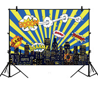 5x7ft Birthday Party Hero Super City Building Night Polyester Photo Background Portrait Backdrop