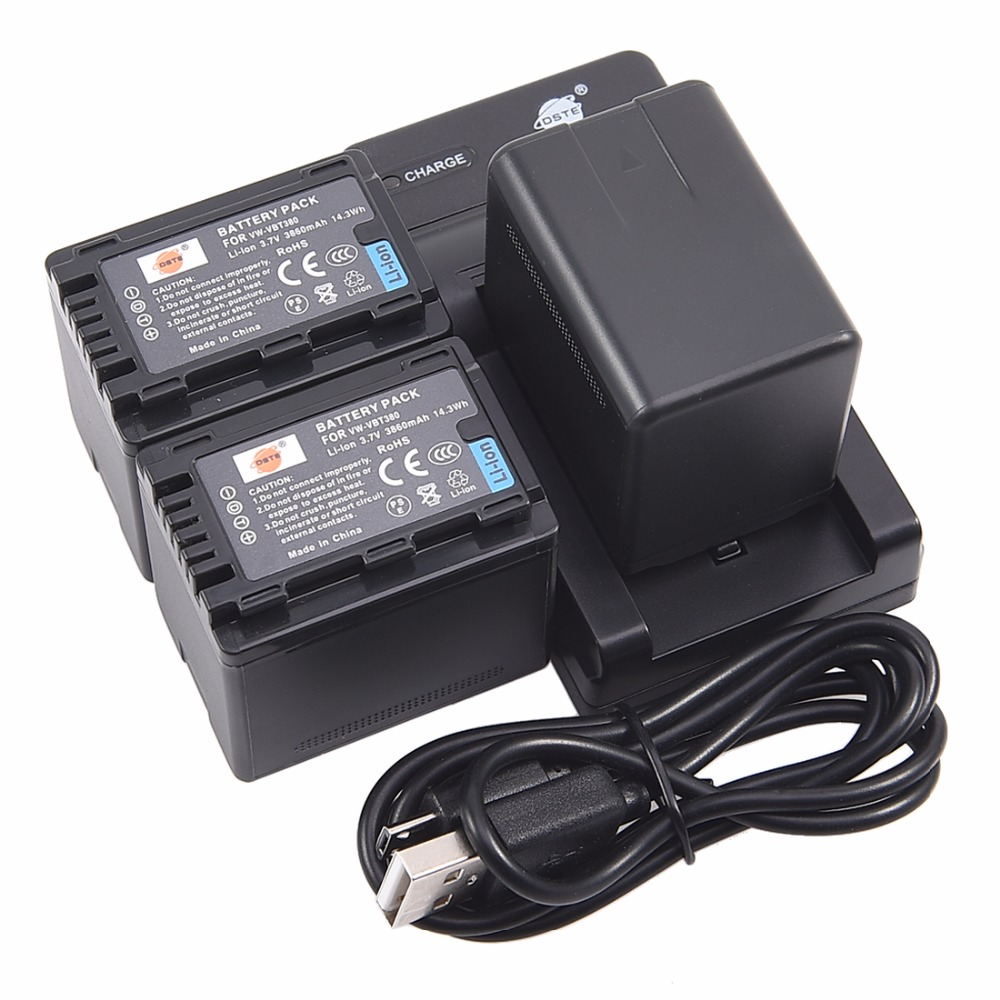 DSTE 3x vw-vbt380 VW-VBT380 Li-ion Battery pack + USB port Charger for PANASONIC HC-W580GK HC-V380GK HC-V180GK HC-W580MGK Camera free customs taxes super power 1000w 48v li ion battery pack with 30a bms 48v 15ah lithium battery pack for panasonic cell