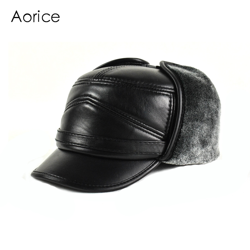 52b3428232a Aorice Genuine Leather Baseball Cap Hat Men S Brand New Cow Skin Leather  Hats Caps Ear Flap Black With Faux Fur Inside HL164 F -in Baseball Caps  from ...