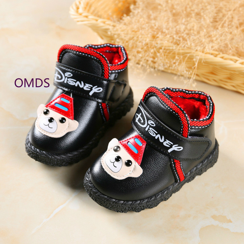 size 40 37249 990b3 US $15.4 |Baby Neue Baumwolle Rutschfeste Verdickung Leder Kinder Schuhe  Stiefel Botas Bottine Girls Shoes Winter Europe Size 22 27 Yxx-in Boots  from ...