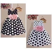 Платье для девочек летняя одежда, платья нарядное платье без рукавов в горошек с цветочным рисунком новая популярная От 2 до 7 лет для маленьких девочек на год