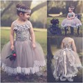 Lace Appliques Ball Gown Flower Girl Dresses Spaghetti Strap Tea Length Tulle Pageant Dresses For Little Girls Free Shipping