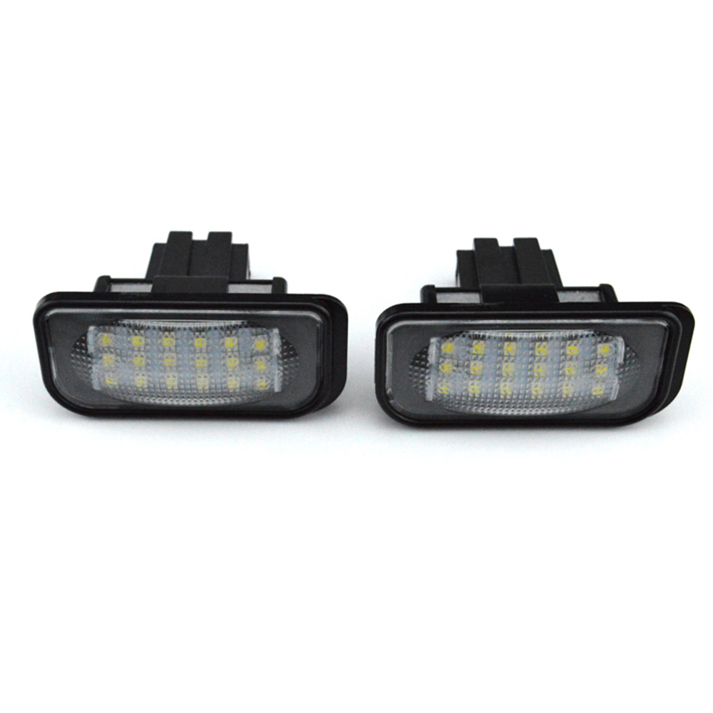 2 pcs 24 SMD car led license plate light lamp For Mercedes-Benz W203 4D Sedan cawanerl car canbus led package kit 2835 smd white interior dome map cargo license plate light for audi tt tts 8j 2007 2012