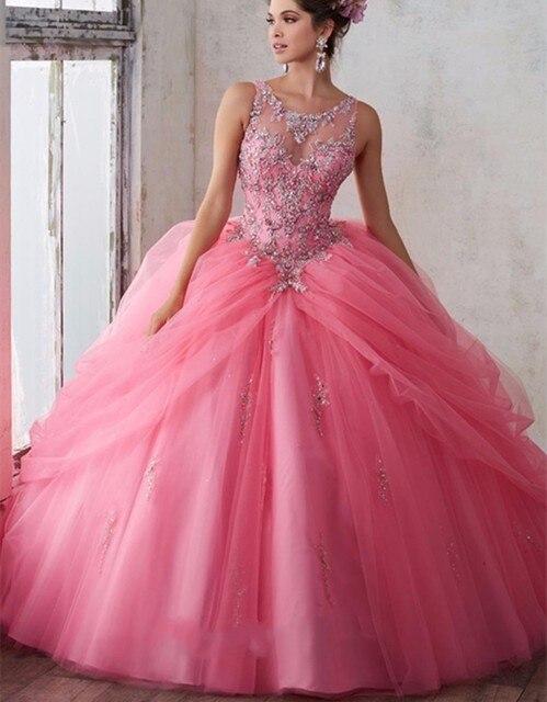 Vestidos de 15 Hot Pink Vestidos Quinceanera 2017 Apliques Frisada Corpete Vestido de Debutante 15 anos Vestido de Festa QD92
