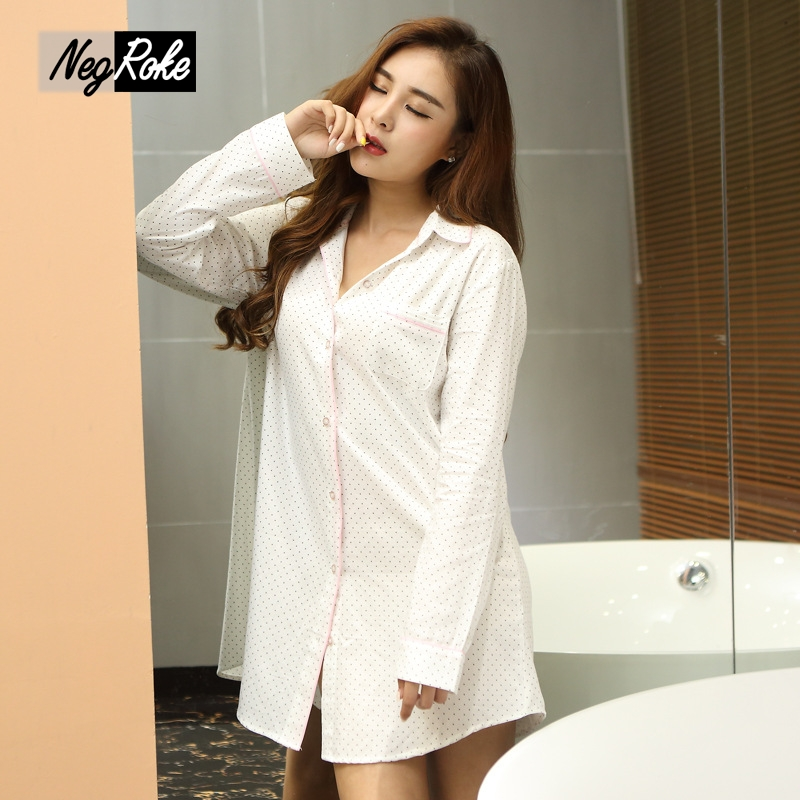 New autumn quality long sleeve white sexy women nightshirts fashion 100% cotton polka dot sleepshirts for women nightgowns